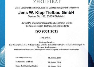 ISO 9001:2015 Jens W. Kipp Tiefbau GmbH