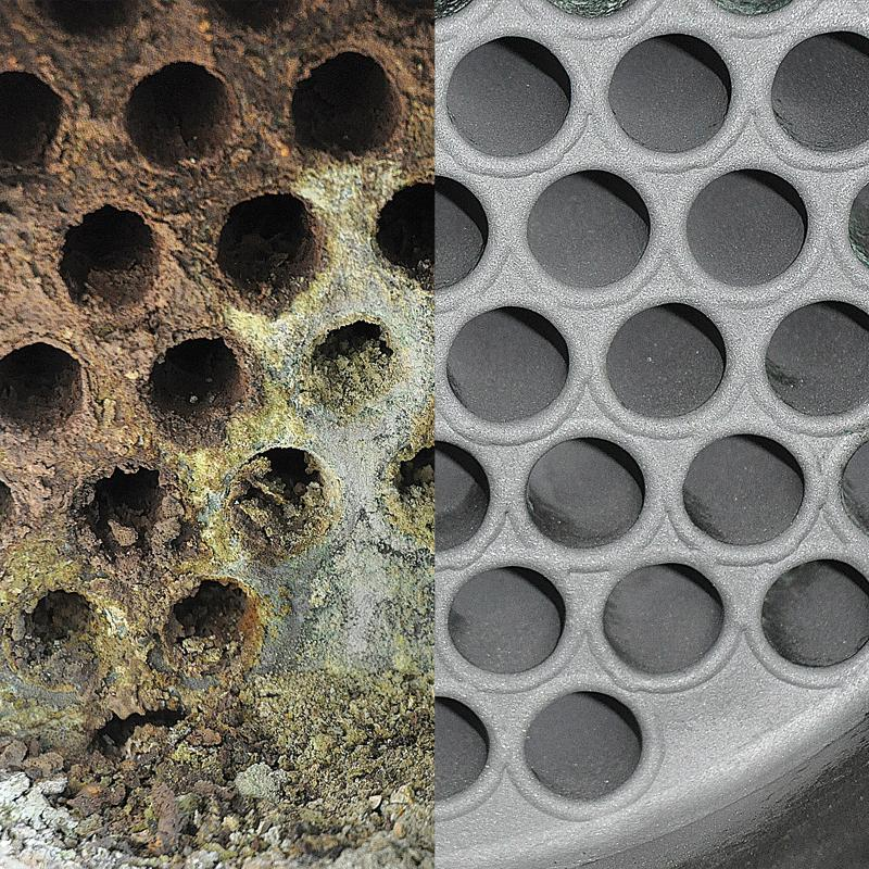 Cleaning a tube bundle heat exchanger at a biogas plant – before and after