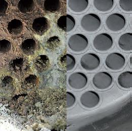 Rohrbündelwärmetauscher links vor und rechts nach der Reinigung mit dem TubeMaster-System von mycon