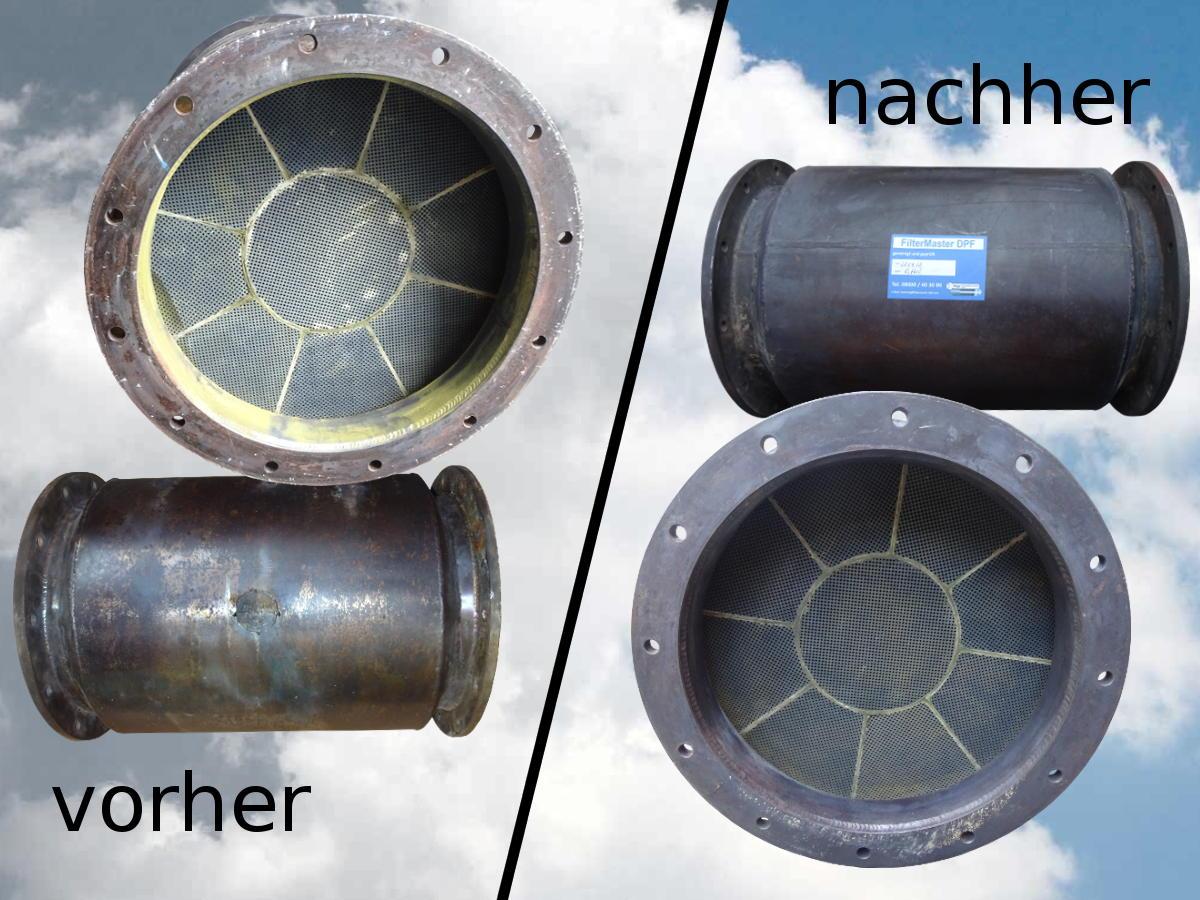 Partikelfilter für Schiff vor und nach der Reinigung durch FilterMaster DPF by Kipp Umwelttechnik GmbH