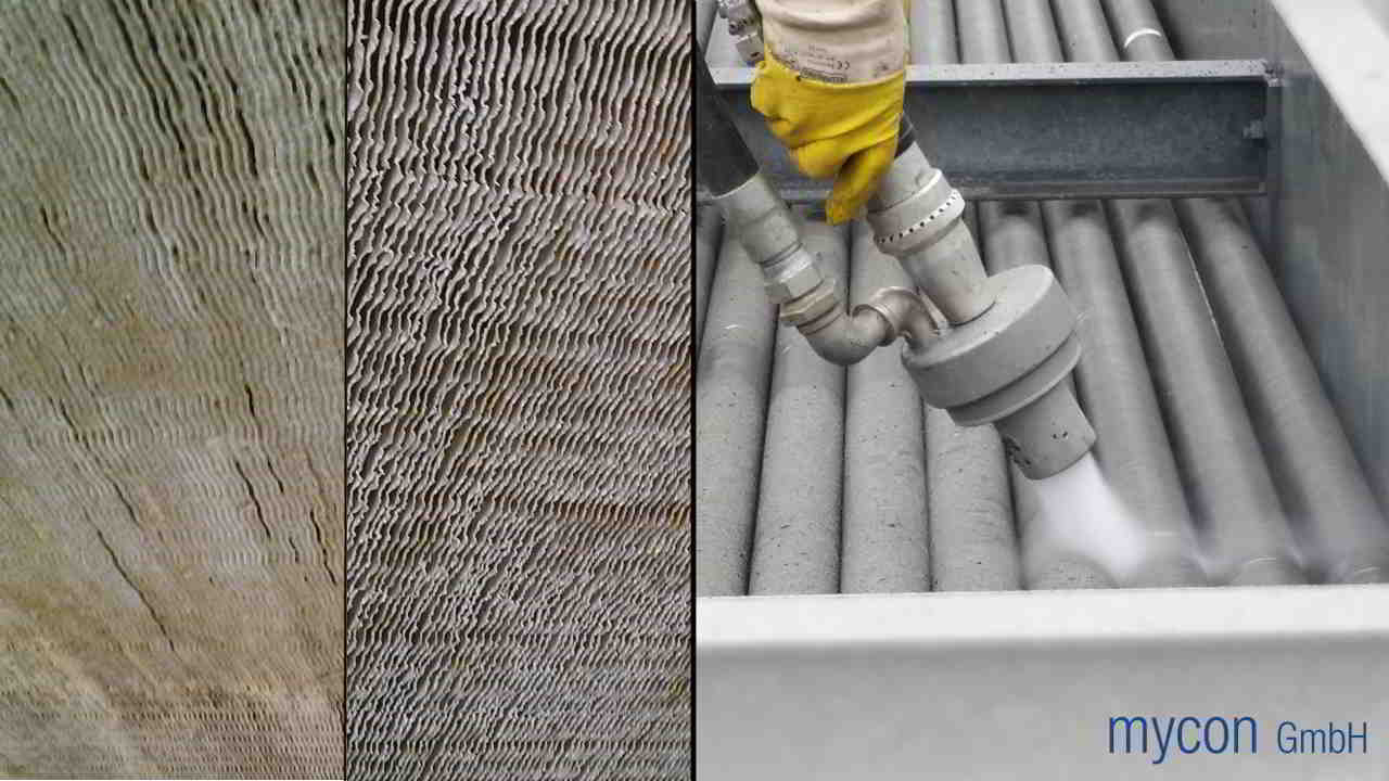 Left: Finned heat exchanger before and after cleaning. Right: Cleaning spiral-finned tubes in a heat exchanger