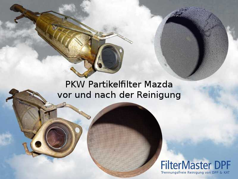 PKW Partikelfilter Mazda vor und nach der Reinigung mit FilterMaster | Außenansicht und Blick auf die Fil-terkeramik