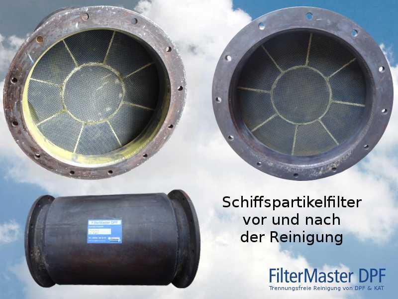 Schiffspartikelfilter vor und nach der Reinigung mit FilterMaster
