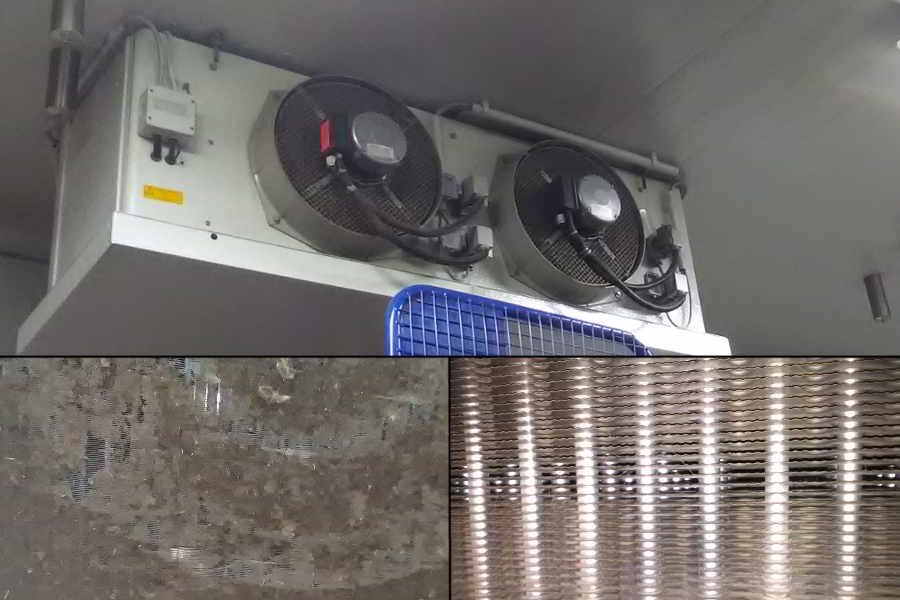 Heat exchanger used in the storage area of food at the top Exterior view, bottom left before cleaning, bottom right after cleaning