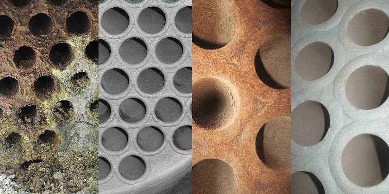 Tube bundle heat exchanger before and after cleaning with the TubeMaster system