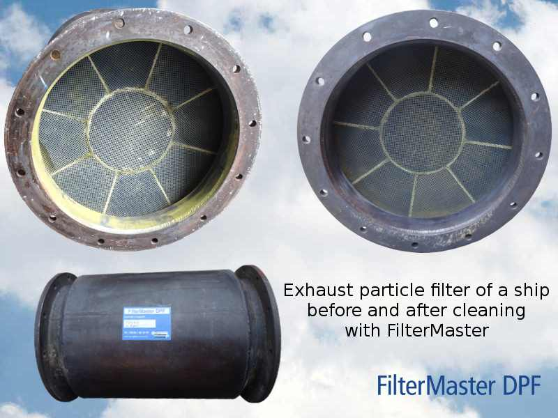 Exhaust particle filter of a ship before and after cleaning with FilterMaster