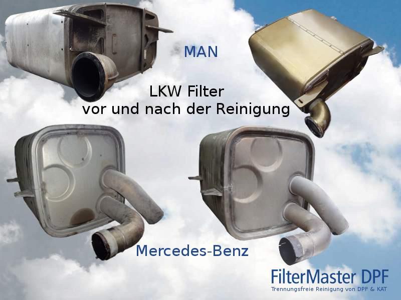 Lkw Filter vor und nach der Reinigung mit FilterMaster | oben MAN, unten Mercedes-Benz
