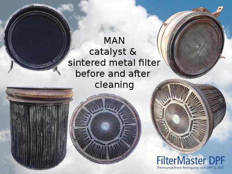 MAN catalyst & sintered metal filter before and after cleaning with FilterMaster
