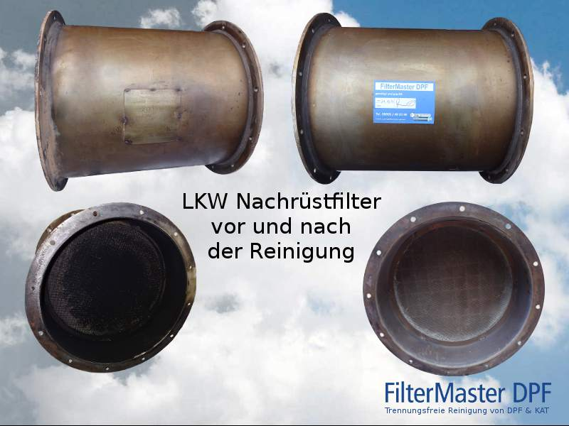 LKW Nachrüstfilter vor und nach der Reinigung mit FilterMaster