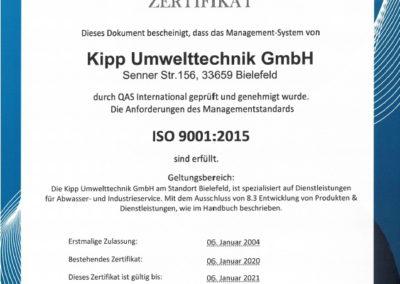 ISO 9001:2015 Kipp Umwelttechnik GmbH