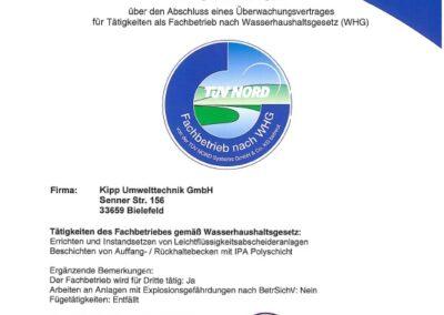 TÜV Zertifikat WHG 2021